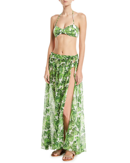 Hera Palm-Print Side-Slit Coverup Skirt