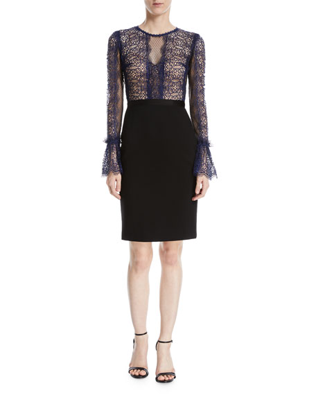 Catherine Deane Kegan Lace & Ponte Long-Sleeve Dress