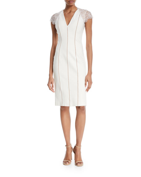 Kaylor Striped Ponte Lace-Sleeve Cocktail Dress