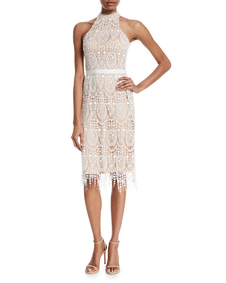 Catherine Deane Katana Crochet Fringe Halter Dress
