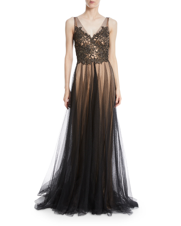 Catherine Deane Knight Metallic V-Neck Trumpet Gown | Neiman Marcus