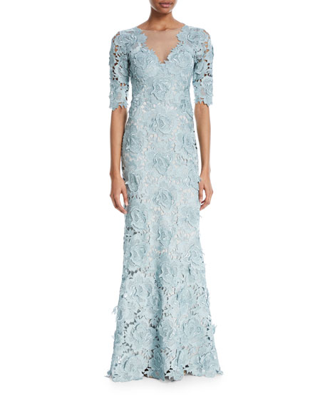 Keeton Rose Lace V-Neck 3/4-Sleeve Illusion Gown