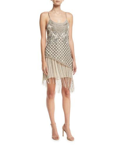 Devere Sleeveless Fringe Mini Cocktail Dress