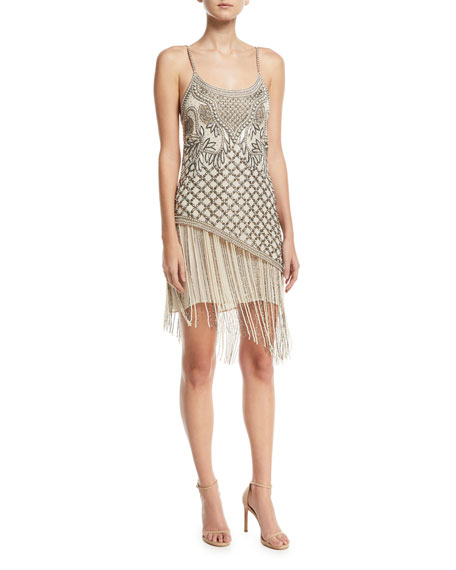 Devere Sleeveless Fringe Mini Cocktail Dress