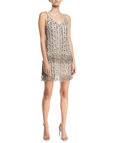 Haute Hippie Wild Rose Embellished Tulle Mesh Mini