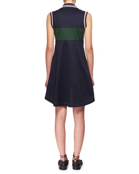 Lace-Up Striped Cotton Pique Mini Polo Dress