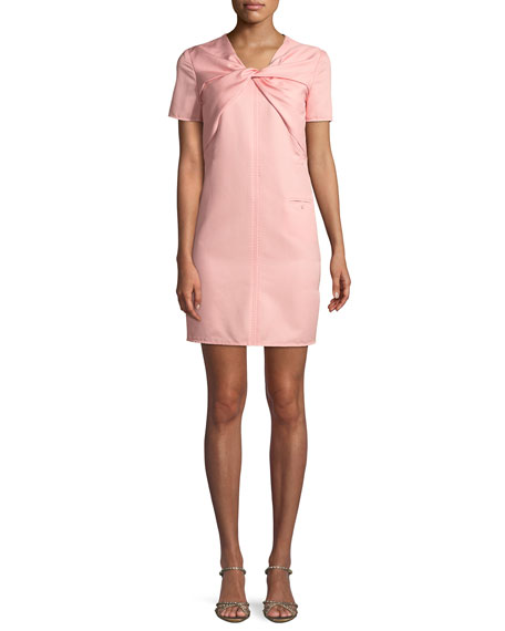 Carven Twisted Short-Sleeve Ottoman Dress