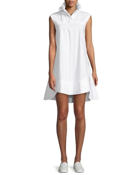 Light Poplin Smocked-Collar Mini Dress