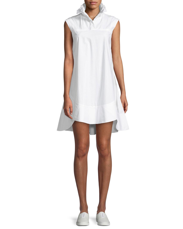 626d130cac18 Carven Light Poplin Smocked-Collar Mini Dress | Neiman Marcus