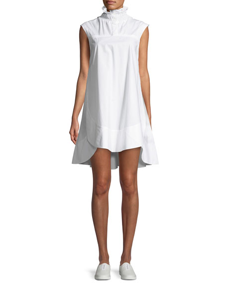 Carven Light Poplin Smocked-Collar Mini Dress