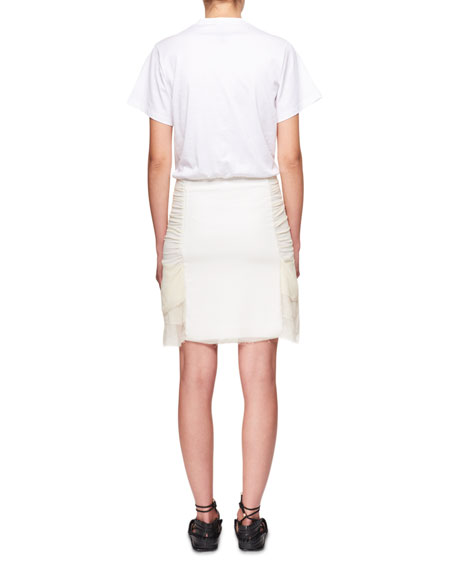 Ruched Jersey and Silk Combo T-shirt Dress