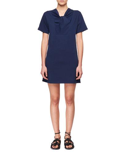 Twist-Neck Short-Sleeve Cotton Jersey Dress