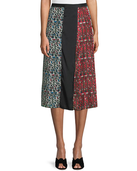 Carven Floral Birds Pleated Silk Midi Skirt