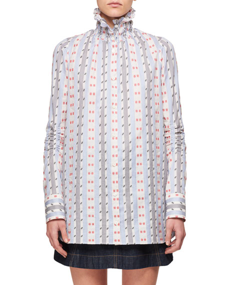 Carven Smocked-Collar Button-Down Striped Long-Sleeve Jacquard Shirt
