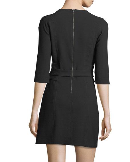 Nora 3/4-Sleeve Belted Crepe Short Dress
