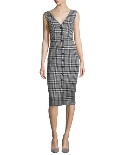 V-Neck Button-Front Plaid Sheath Dress