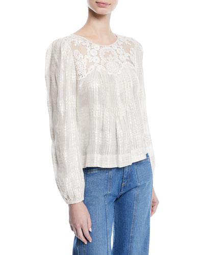 Ginesa Long-Sleeve Gauze Top w/ Pleating & Embroidery