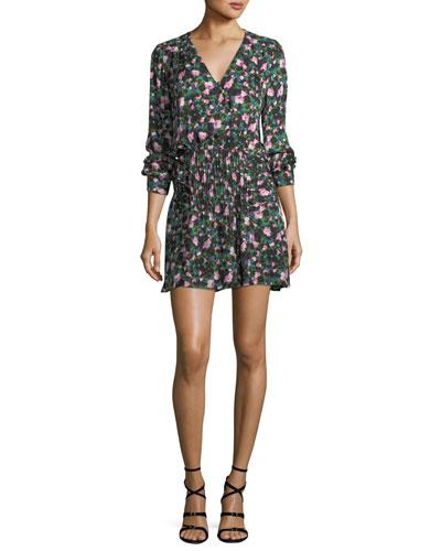 Naomi V-Neck Long-Sleeve Painted Floral-Print Silk Dress