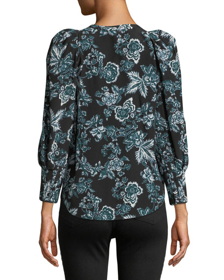 Isa Floral-Print Button-Front Silk Blouse