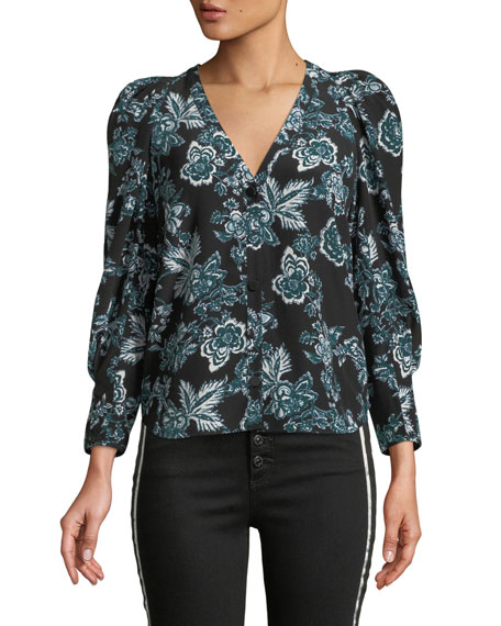 Veronica Beard Isa Floral-Print Button-Front Silk Blouse