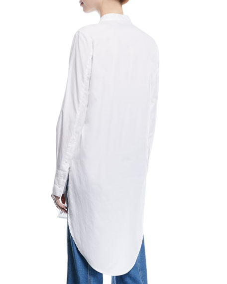 Ellis Button-Front Long Poplin Tunic