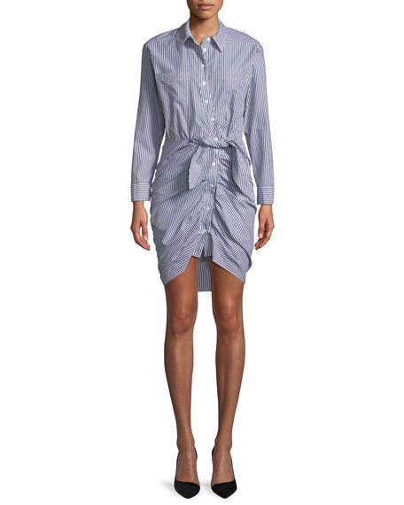 Sierra Button-Down Long-Sleeve Striped Cotton Shirt Dress