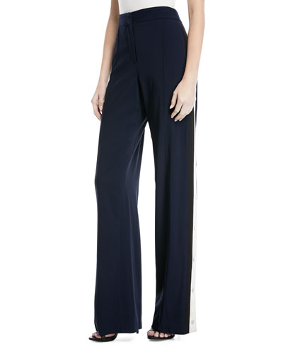 Russo High-Waist Side-Snap Wide-Leg Trousers