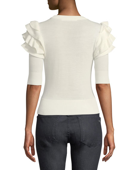 Havyn Crewneck Elbow-Sleeve Fitted Knit Sweater with Ruffles