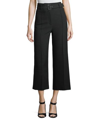 Lyla High-Waist Wide-Leg Crop Crepe Pants
