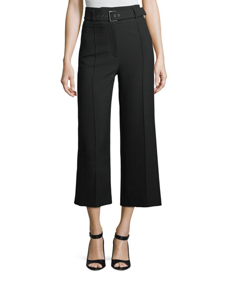 Lyla High-Waist Wide-Leg Crop Crepe Pants
