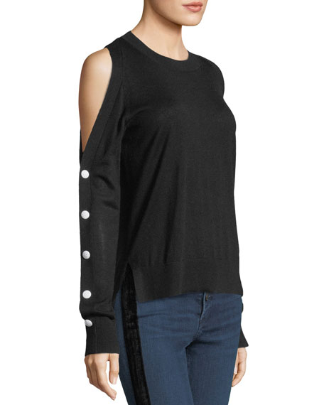Veda Crewneck Cold-Shoulder Button-Sleeve Wool Sweater
