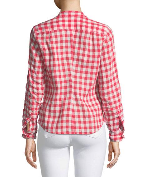 Barry Button Front Check Linen Shirt by Frank & Eileen