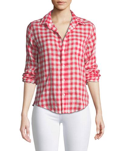Barry Button-Front Check Linen Shirt