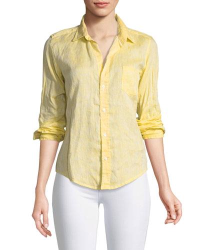 Barry Button-Front Faded Linen Shirt
