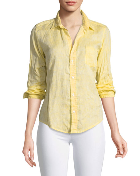 Frank & Eileen Barry Button-Front Faded Linen Shirt