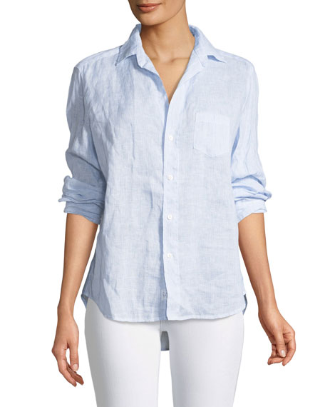 Frank & Eileen Eileen Button-Down Long-Sleeve Striped Linen