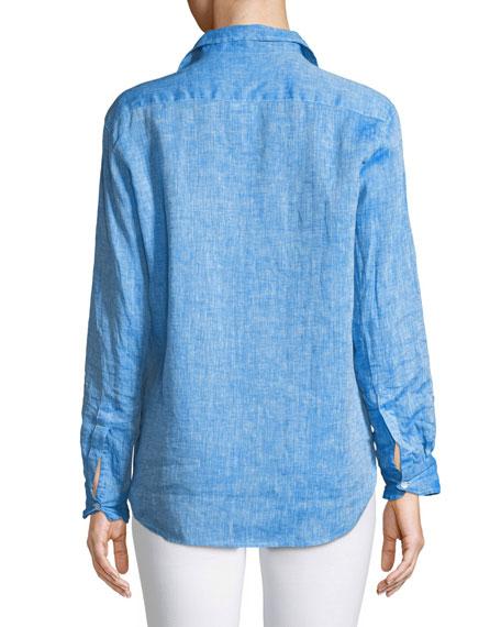 Eileen Button-Down Long-Sleeve Linen Shirt