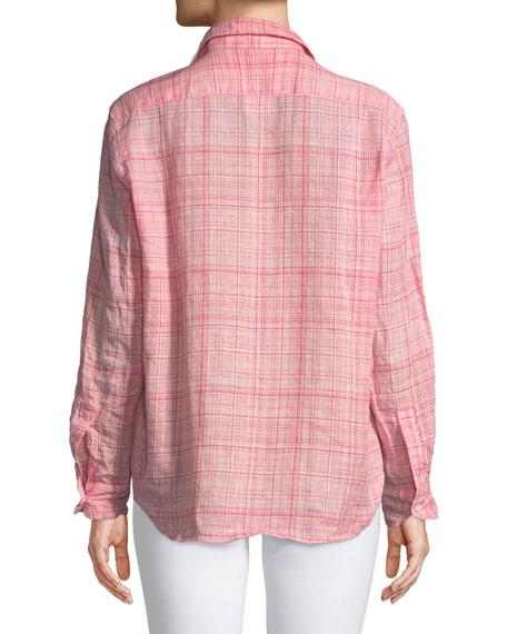 Eileen Button-Down Plaid Linen Shirt