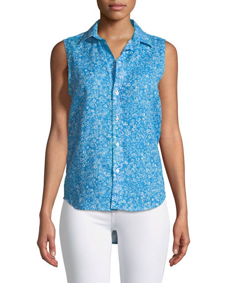 Frank & Eileen Fiona Sleeveless Button-Down Floral-Print Linen