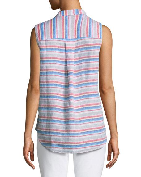 Fiona Sleeveless Striped Linen Shirt