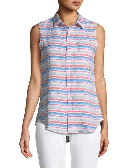 Frank & Eileen Fiona Sleeveless Striped Linen Shirt