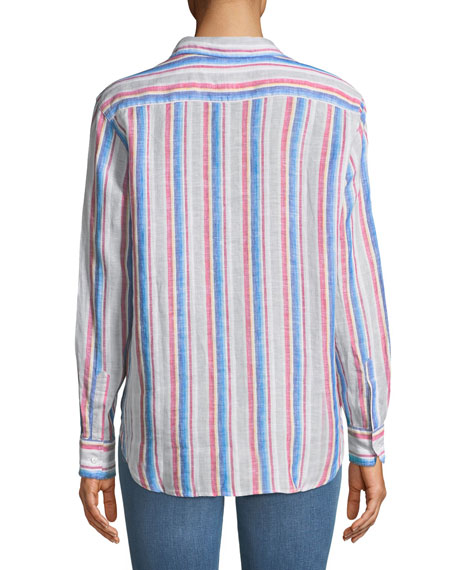 Eileen Long-Sleeve Striped Linen Button-Down Shirt