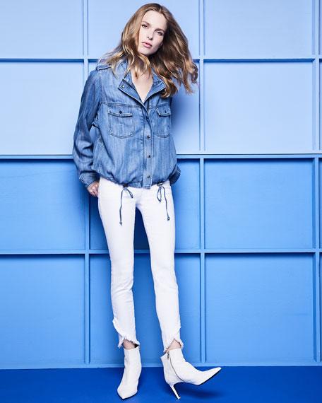 Charlie Mid-Rise Skinny Tulip-Hem Jeans