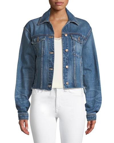 Button-Front Cutoff Denim Jacket