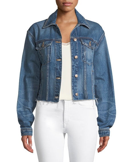 Button-Front Cutoff Denim Jacket