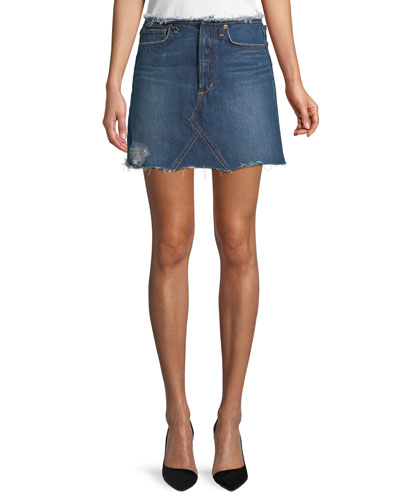 Bella Cutoff-Waist A-Line Denim Skirt