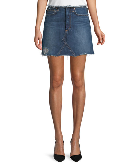 Joe's Jeans Bella Cutoff-Waist A-Line Denim Skirt