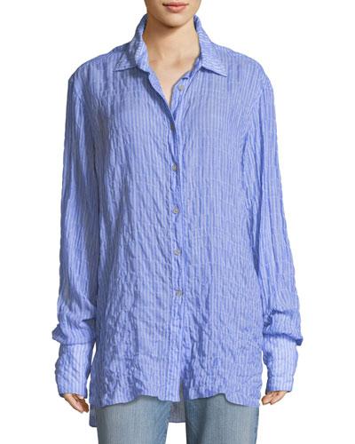 Francois Long-Sleeve Button-Front Seersucker Shirt