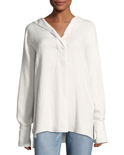 Carson Hooded Long-Sleeve Cotton Shirt