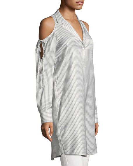 Drapey Striped Button-Front Cold-Shoulder Shirt